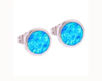 Opal studs, blue opal earrings, opal earrings, silver studs, silver earrings, small studs, small opal studs