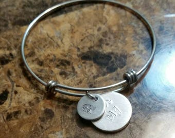 "Indie Owl's Spirit Animals- ELEPHANT Handstamped charm bracelet with ""Live Big"" pendant & Story Tag"