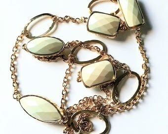 Necklace Gold Tone Pale Sage Greens Plastic Beads Vintage Jewelry Jewellery Accessories Gift Guide Women