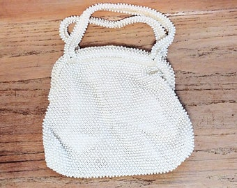 Ivory Beaded Purse Handbag by Corde Bead Plastic Beaded Vintage Wedding Party Prom 1960s