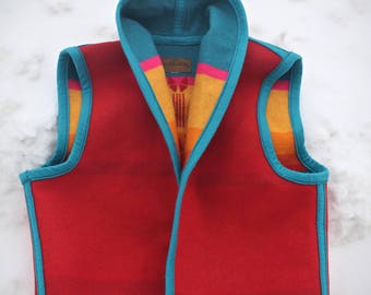 Beautiful vintage reversible navajo sunburst Chief Joseph pattern vest - women's small to medium - Made in the USA by Pendleton Woolen Mills