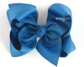 """Extra Large Hair Bow, Teal Blue Hair Bow, 6"""" 6 inch hair bows, big bow, giant bow, extra large bow, jumbo dark turquoise, Girls Hair Bow xl"""
