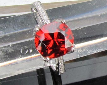 Diamond Accented 3.47ct Orange Spessartite Garnet Ring January Birthstone