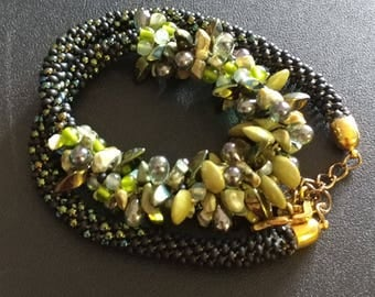 Succulents Braided Chunky Beaded Rope Necklace