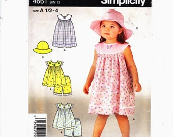 Simplicity 4661 Sz 1/2-4 Girls Dress, Top, Panties (Bloomers)  And Hat UNCUT