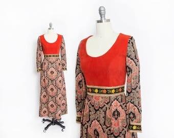 Vintage 1970s Maxi Dress - Burnt Orange Crushed Velvet Ethnic Print Full Length Gown - Small