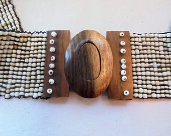 Vintage GLASS Seed Bead Belt Wood Buckle Southwestern Boho Ethnic Retro Stretch Large Chunky Mod Statement Runway