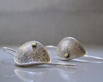 Leaf earrings, Long leaf earrings, Silver leaf earrings, Nature Jewelry