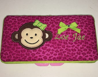 Personalized Baby Girl Monkey Wipe Case