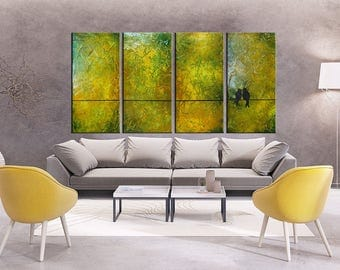 Birds on a Wire, birds on wire wall art, Love Birds, Green Painting, Wedding Painting, Family painting,Romantic Painting, gold painting,