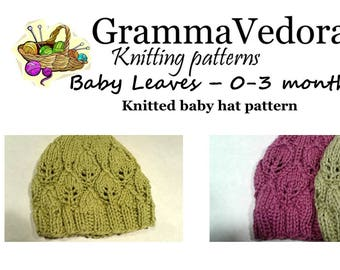 Knitting pattern with leaf stitch for baby hat 0 to 3 months
