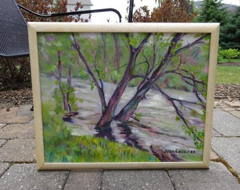 "Vintage Original 1990's Impressionist Landscape Painting titled ""knee deep in the Tulpehocken"" signed Jean Cocuzza"