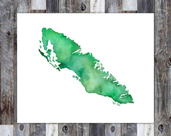 Vancouver Island, Vancouver Island Print, Vancouver Map, Canada Map, Canada Painting, Pacific Coast, Canadian Map, Vancouver Island Art