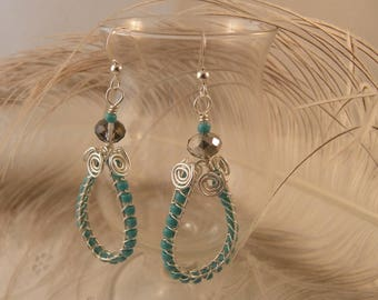 Turquoise and Sterling Silver Woven Hoop Earrings