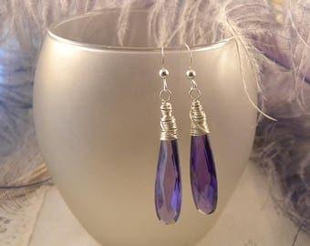 Exotic Purple CZ Briolette Earrings in Sterling Silver