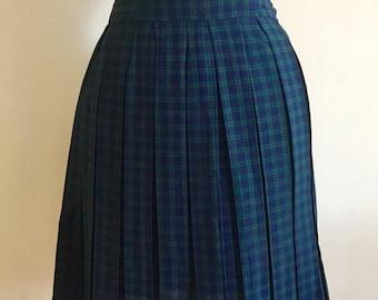 Vintage 60s Plaid Pleated Skirt