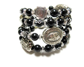 Black Night Bracelet Day of the Dead Wrap Around Cuff Black Silver No Skulls