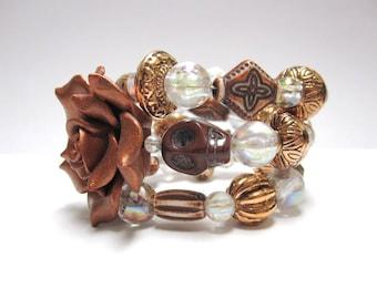 Sugar Skull Bracelet Copper Rose Day of the Dead Bracelet