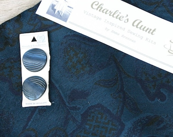 """Stunning piece of woven silk fabric in shades of blue, size 54"""" X 18"""", firm medium weight plus 2 vintage buttons"""