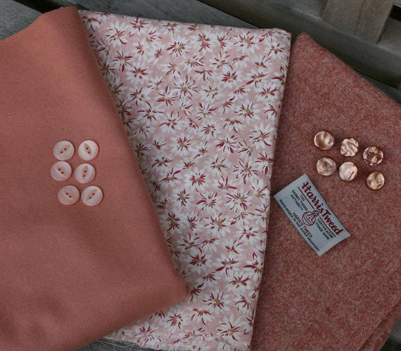 Handwoven Harris Tweed, vintage wool flannel and cotton print fabric pack in peachy tones with 12 tiny vintage buttons