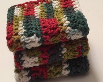 3 Large dish cloths/ dish rags/ wash cloths made with 100% cotton yarn