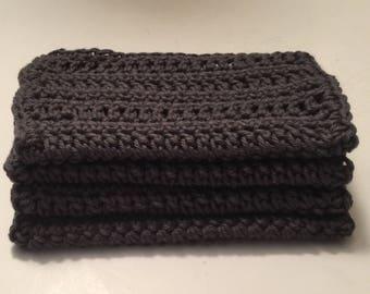 4 large dish cloths | dish rags | wash cloths made of 100% super soft Dishie cotton yarn Ash