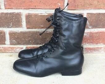 vtg 80s BLACK lace up VICTORIAN BOOTS 6 mod heels granny boho retro preppy leather shoes ankle