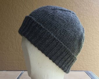 Stocking Cap, Watchcap, Longshoremans Hat, Beanie, Charcoal Gray Mens Womens Hand Knit