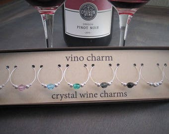 8 crystal wine charms | gift box | silver wine glass charms - wine gift - wine party present - drink charms - wine glass markers SPC8-2