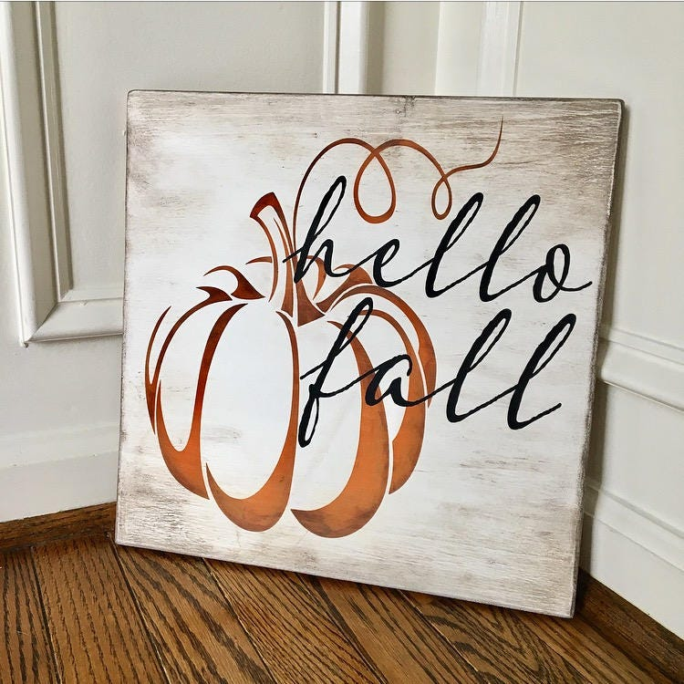 Hello Fall Rustic Wooden ...