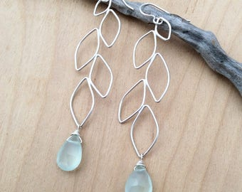 Sterling Silver Falling Leaf Earrings with Aqua Chalcedony Briolettes