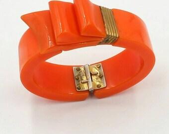 Art Deco Orange Bakelite Clamper Bangle Brass Ribbon
