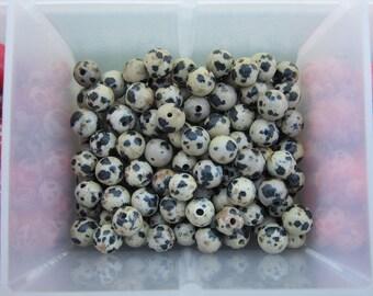 6mm Dalmation Jasper Gemstone Beads