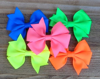 NEON Hair Bows~Small Pinwheel Hair Bow~NEON Pink Bow~NEON Colored Bows~Small Bows~Boutique Bows~Hair Bows~Small Hair Bows~