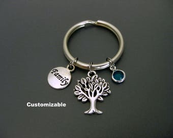 Family Keychain / Family Key Ring / Birthstone Keychain /Tree of Life Keychain / Gift For Mom / Gift For Nana / Gift For Grandma