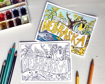 Coloring Postcard, NEBRASKA handdrawn postcard