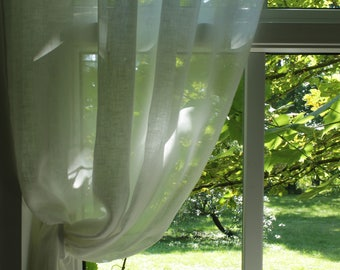 "SALE. Sheer Linen Curtain Panels. Set of 2. Off white. 100% Pure Linen. 190cmx140cm (76""x56"") Prewashed and softened."