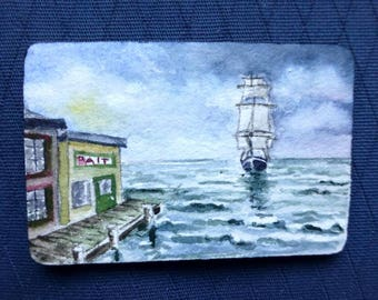 Micro-mini Original Painting - clipper ships on the ocean