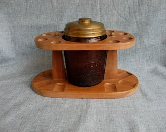 Vintage Wood Pipe Holder for 8 Pipes with Amber Glass Humidor Tobacco Jar Dun - Rite