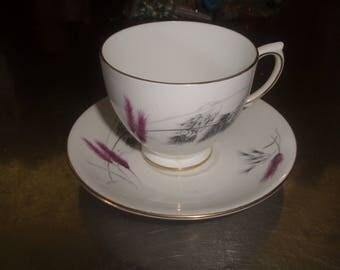 vintage bone china teacup tea cup saucer set ainsdale pink gray wheat england