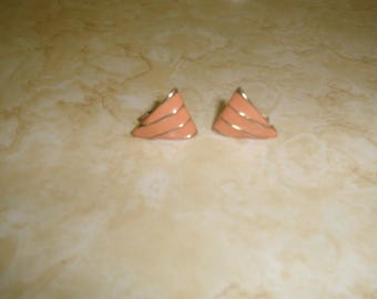 vintage clip on earrings goldtone peach enamel