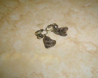 vintage clip on earrings silvertone agate stone dangles