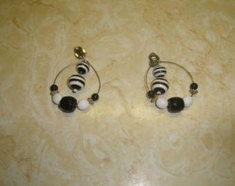 vintage clip on earrings silvertone black white beads hoops dangles