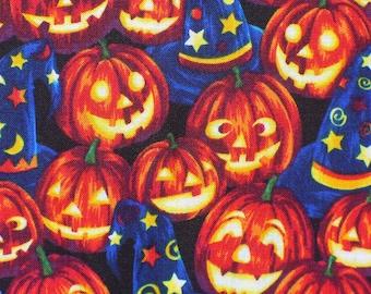 Halloween Fabric, Wizard Pumpkins, Jack O Lanterns,  Wizard Hats, By the Yard, Cotton Fabric