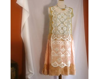 Aliisa coral ivory vintage style rustic wedding dress with vintage crochet and gold lace. Upcycled wedding. Size small to medium. Handmade.