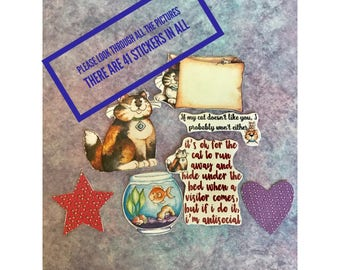 Crazy Cat Diva HUGE set of 41 large decorative planner stickers will fit most planners