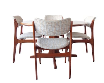 Vintage Mid Century Modern Teak Extending Dining Room Table And Chairs