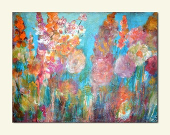 Original Happy Colorful Abstract Flowers Textured Wood Panel