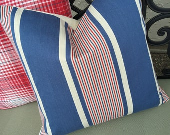 Vintage Americana Striped Red White and Blue Ticking Decorative Throw Pillow Patriotic 4th of July Decor