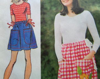 DRAWSTRING SKIRT Pattern • Simplicity 5123 • Miss One Size • Appliqued Skirt • Corded Waist Maxi Skirt • Vintage Patterns • WhiletheCatNaps